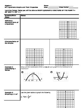 Algebra - Cornell Notes - Unit 9 - Quadratic Functions and