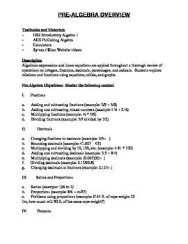 Algebra Curriculum Overview (DOC)