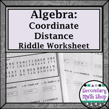 Distance Formula Practice Riddle Worksheet