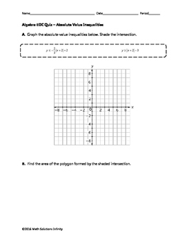 Algebra EOC Quiz - Absolute Value Inequality Systems BUNDLE
