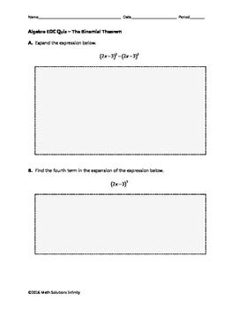 Algebra EOC Quiz - The Binomial Theorem BUNDLE