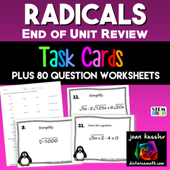 Algebra: Radicals Task or Station Cards  100 Problems