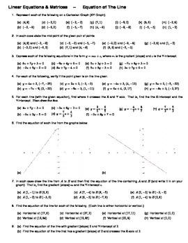 Algebra -- Equation of the Line (Worksheet)