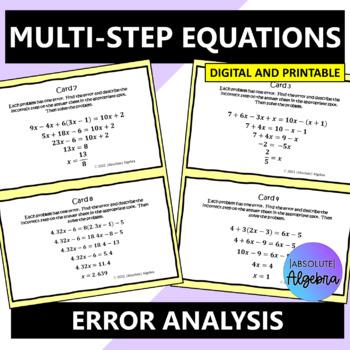 Algebra Error Analysis of Multi-Step Equations
