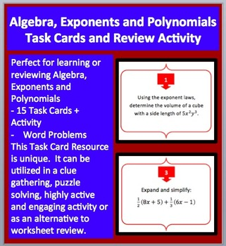 Algebra, Exponents and Polynomials - Task Cards and UNIQUE
