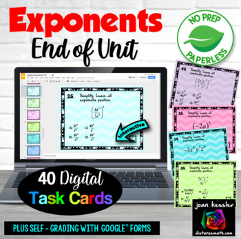 Algebra Exponents GOOGLE Slides Digital Interactive Task Cards