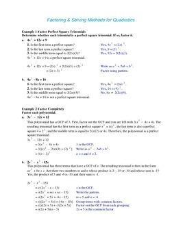 Algebra: Factoring & Solving Methods for Quadratics (Alg 2)