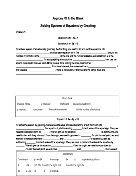 Algebra Fill in the Blank - Solving Systems of Equation by
