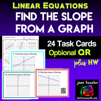 Algebra Slope from a Graph Task Cards QR