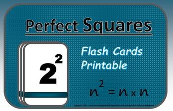 Algebra Flash Cards: Perfect Squares