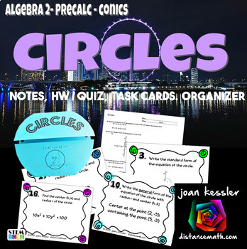 PreCalculus Algebra 2 -  Circles Task Cards plus Foldable