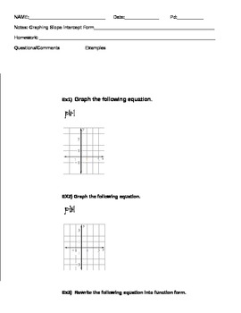 Algebra Graphing Linear Equation notes