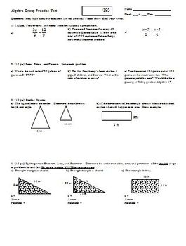 Algebra Group Practice Test Fall 2008
