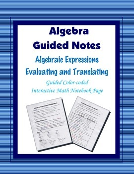 Algebra Guided Interactive Math Notebook Page: Algebraic E