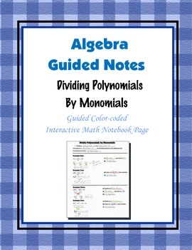 Algebra Guided Interactive Math Notebook Page: Dividing Po