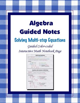 Algebra Guided Interactive Math Notebook Page: Multi-step