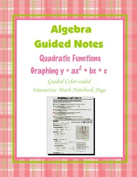 Algebra Guided Interactive Math Notebook Page: Graphing Qu