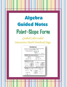 Algebra Guided Interactive Math Notebook Page: Point-Slope Form.