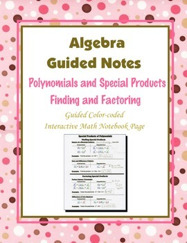 Algebra Guided Interactive Math Notebook Page: Special Pro