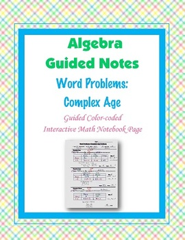 Algebra Guided Interactive Math Notebook Page: Word Problems (6)
