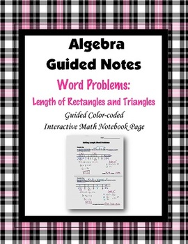 Algebra Guided Interactive Math Notebook Page: Word Problems (2)