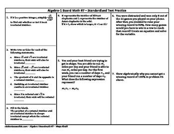 Algebra-I Board Math #7 - Standardized Test Practice