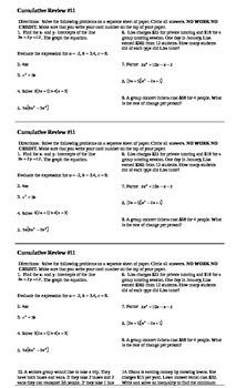 Algebra I Cumulative Review #11