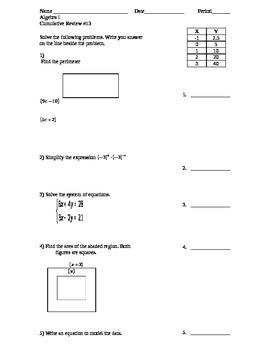 Algebra I Cumulative Review #13