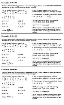 Algebra I Cumulative Review #3