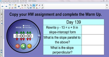 Algebra I Daily Warm Up Calendar Math with Timer - Day 136 to 180