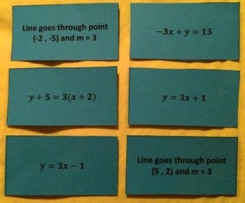 Matching Equations of Lines: Point-Slope, Slope-Intercept,