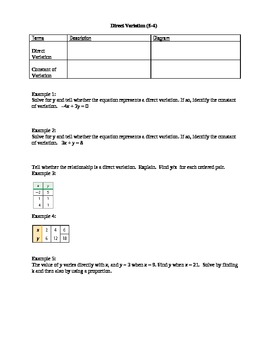 Algebra I Fill-In Notes:  Direct Variation