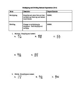 Algebra I Fill-In Notes:  Multiplying and Dividing Rationa