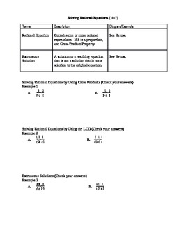 Algebra I Fill-In Notes:  Solving Rational Equations