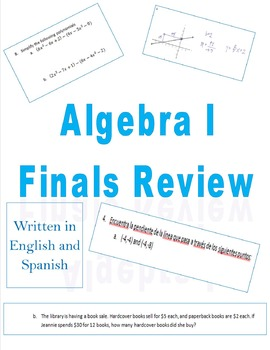 Algebra I Final Review in English & Spanish