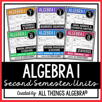Algebra 1 (Second Semester) - Notes, Homework, Quizzes, Tests