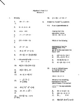 Algebra Test Version 2