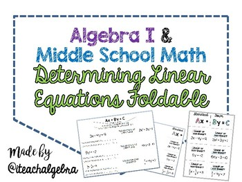 Algebra I and Grade 8 Middle School Math Determing Linear