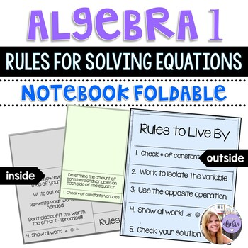 Algebra I and Grade 8 Middle School Math Solving Equations