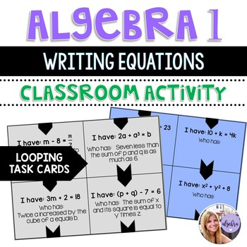 Algebra I and Grade 8 Middle School Math Writing Equations