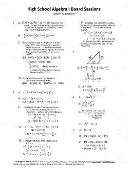 Algebra I,Board Session 11,Common Core Review,Quiz Bowl,Si
