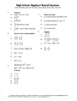 Algebra I,Board Session 13,Common Core Review,Quiz Bowl,li