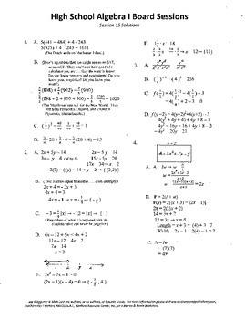 Algebra I,Board Session 15,Common Core Review,Quiz Bowl,gr