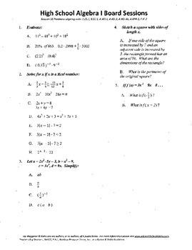 Algebra I,Board Session 16,Common Core Review,Quiz Bowl,fu