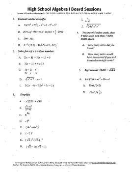 Algebra I,Board Session 18,Common Core Review,Quiz Bowl,ra