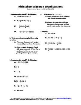 Algebra I,Board Session 2,Common Core Review,Quiz Bowl,Sim