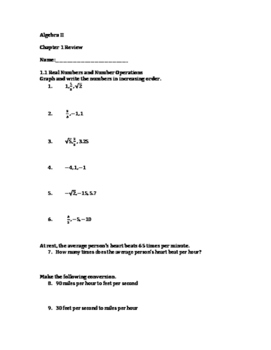 Algebra II Chapter 1 Review