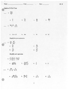 Algebra II Test - Rational Expressions and Equations