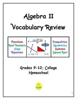 Algebra II Vocabulary Quizzes