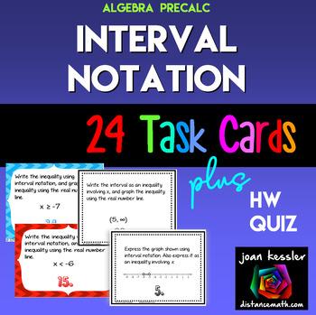 Algebra Interval Notation Task Cards